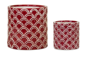 Red Design Terra Cotta Pot (2 Styles Sold Separately)