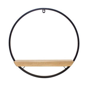"CIRCLE SHELF 17""L X 17.5""H IRON/WOOD"