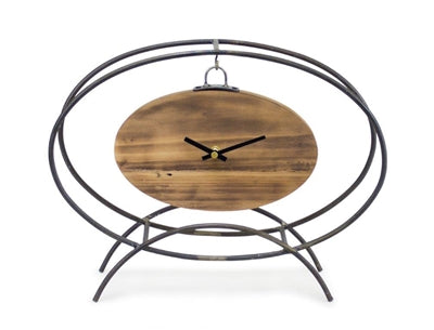 "Tabletop Iron and Wood Oval Clock 14.25""L X 11""H"