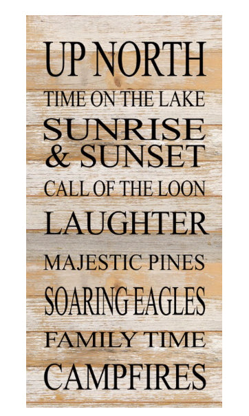 Up North Time on the Lake-Reclaimed Sign