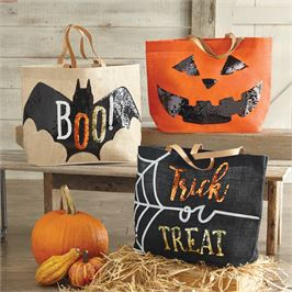 TRICK OR TREAT SEQUIN APPLIQUE TOTE BAG 3 Styles