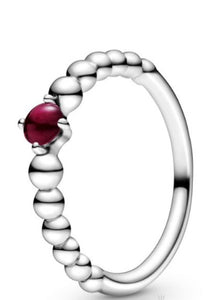 Dark Red Beaded-January Birthstone Ring-Pandora