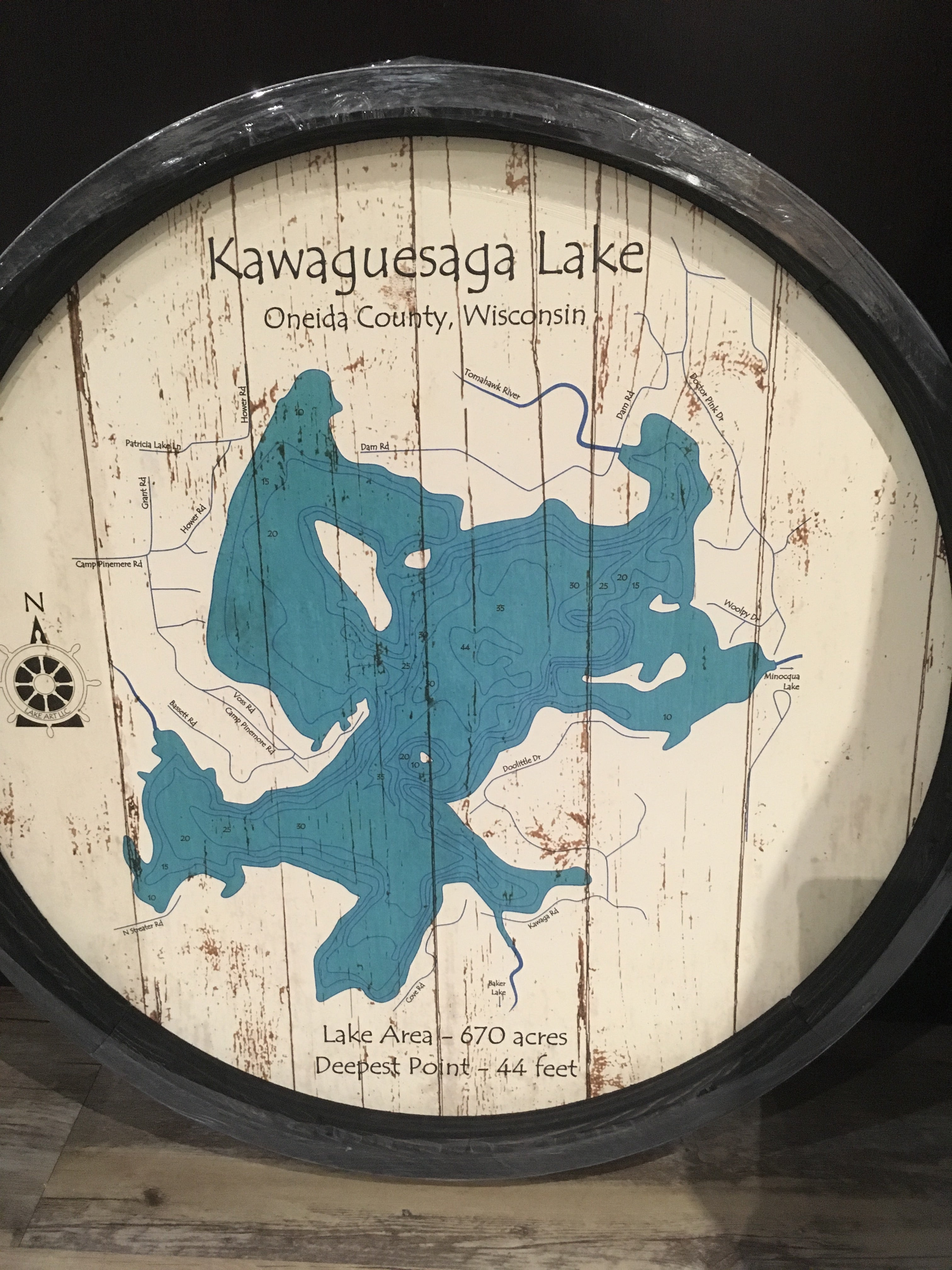 Kawaguesaga Lake-Barrel End Style Lake Art-23.75""