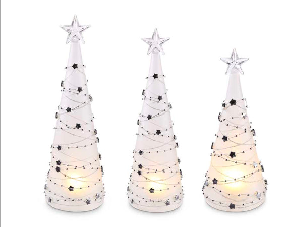 LED Christmas Trees with Silver Star Detail