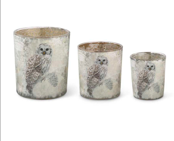 Glass Container With Snowy Owl-3 Sizes Sold Separately