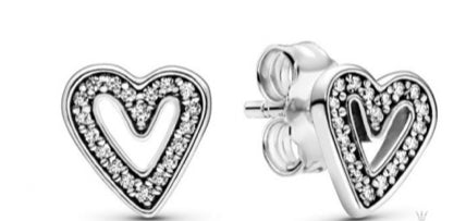 Sparkling Freehand Heart Stud Earrings-Pandora