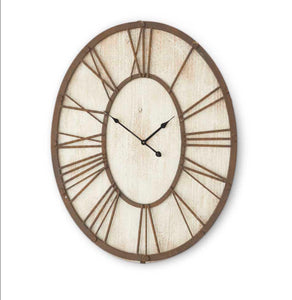 "30"" Wooden White Washed-Oval Clock"