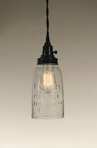 Half Gallon Open Bottom Mason Jar Pendant Lamp - Clear Glass