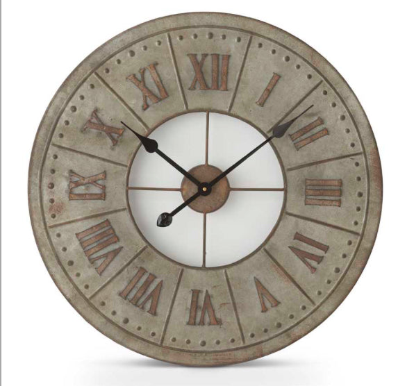 "23.5"" Round Tin Clock with Roman Numerals"