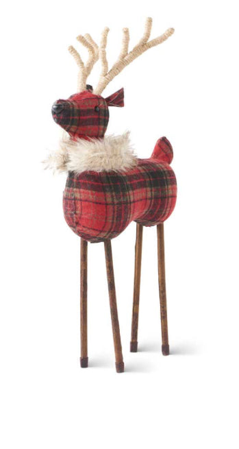 Red Plaid Reindeer with Twine Antlers