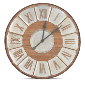 "37"" Large Wood and Tin Clock"