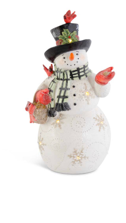 Glittered LED Resin Snowman With Black And White Scarf