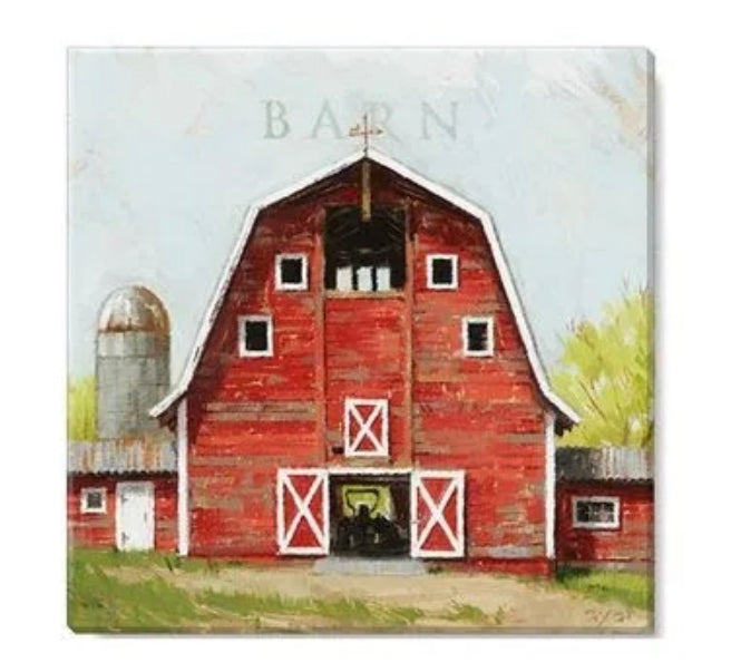 "Red Barn Canvas Wall Art- 9""x9"""