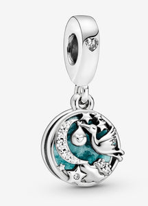 Stork and Twinkling Stars Dangle-Pandora Charm