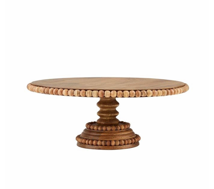 Wood Beaded Cake Stand