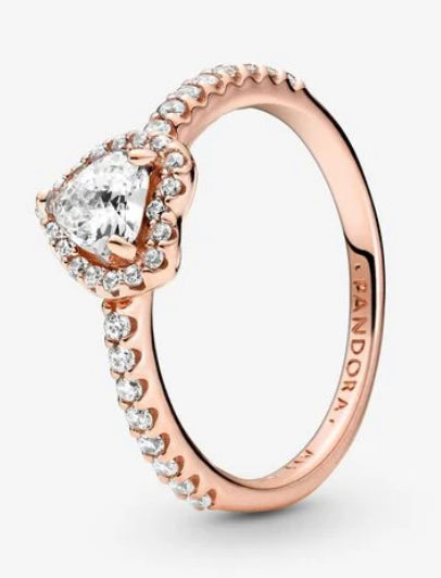 Sparkling Elevated Heart Ring-Pandora