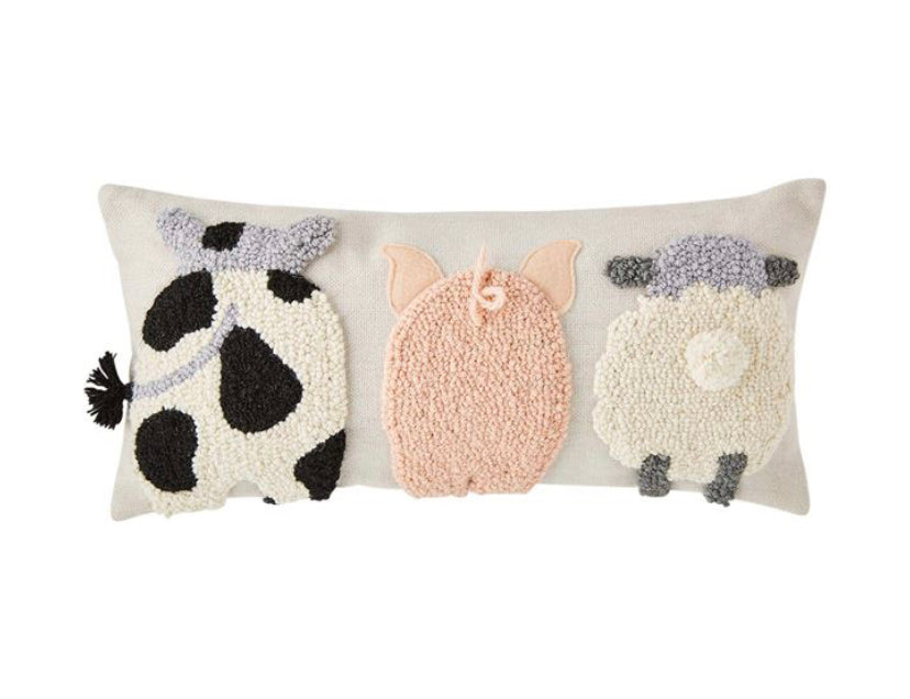 Farm Animal Hooked Pillow