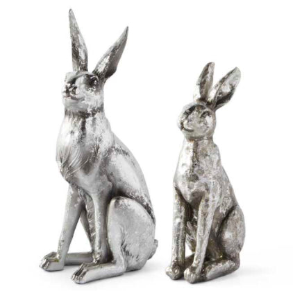 Resin Rabbit With antiqued Silver Finish-2 Sizes Sold Separately
