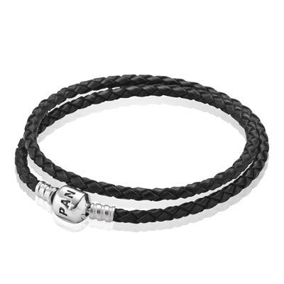 02365ae8a Black Leather Bracelet - Double with Sterling Silver - PANDORA - 590705CBK-D