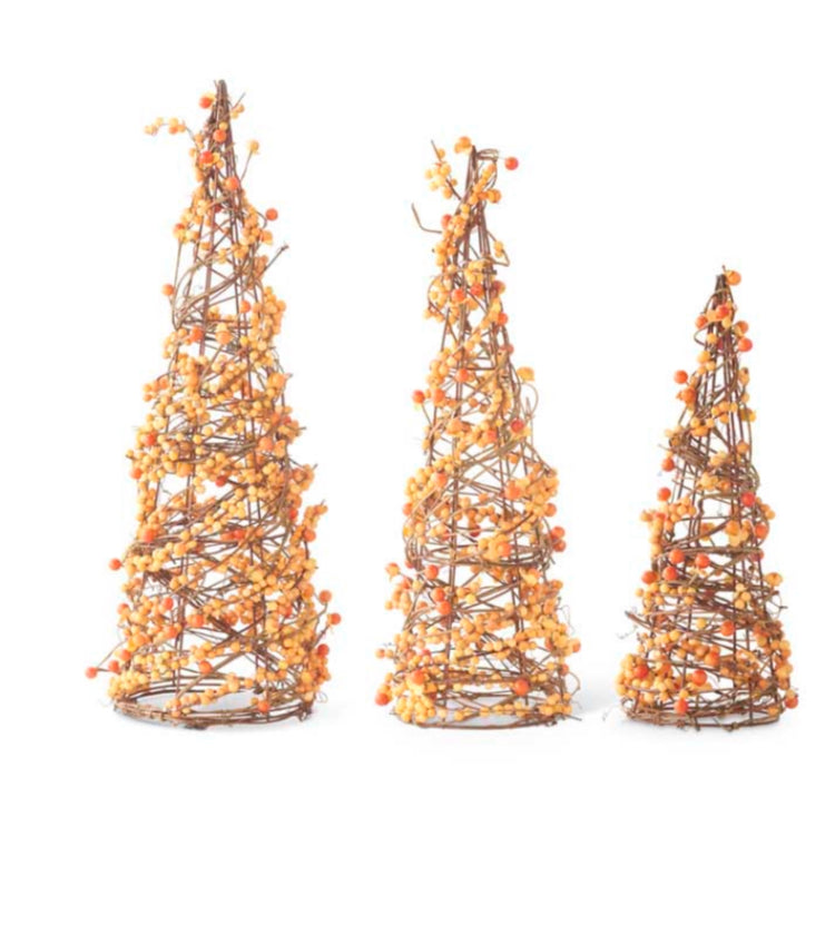 Orange Berry Twig Cone Trees-3 Sizes Sold Separately