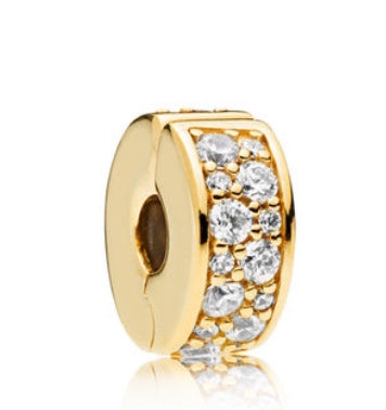 Shining Elegance Clip 18ct Gold Plated-Clear CZ-PANDORA