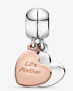 Mother and Daughter Heart Split Dangle Charm-Pandora