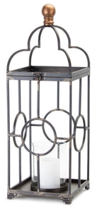 Iron Open Lantern with Glass Cylinder Candle Holder-2 Sizes Sold Separately