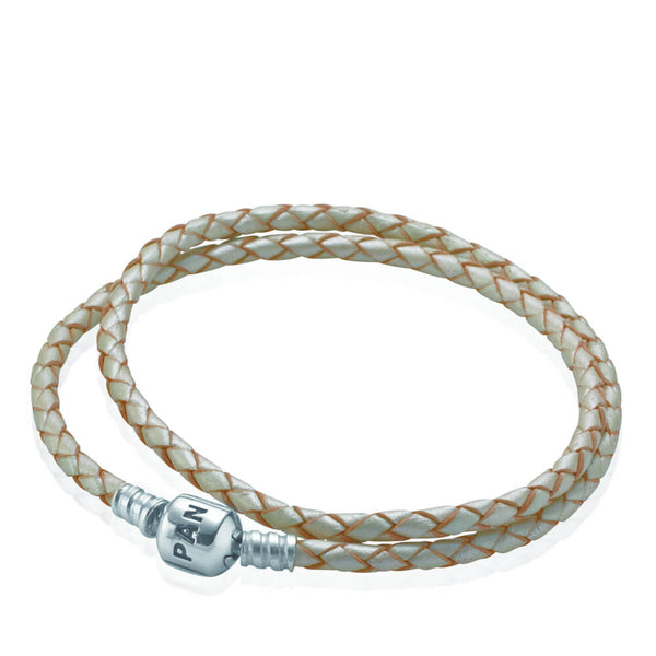 9a5b296b7 Champagne Braided Double Leather Charm Bracelet - with Sterling Silver -  PANDORA - 590705CPL-D