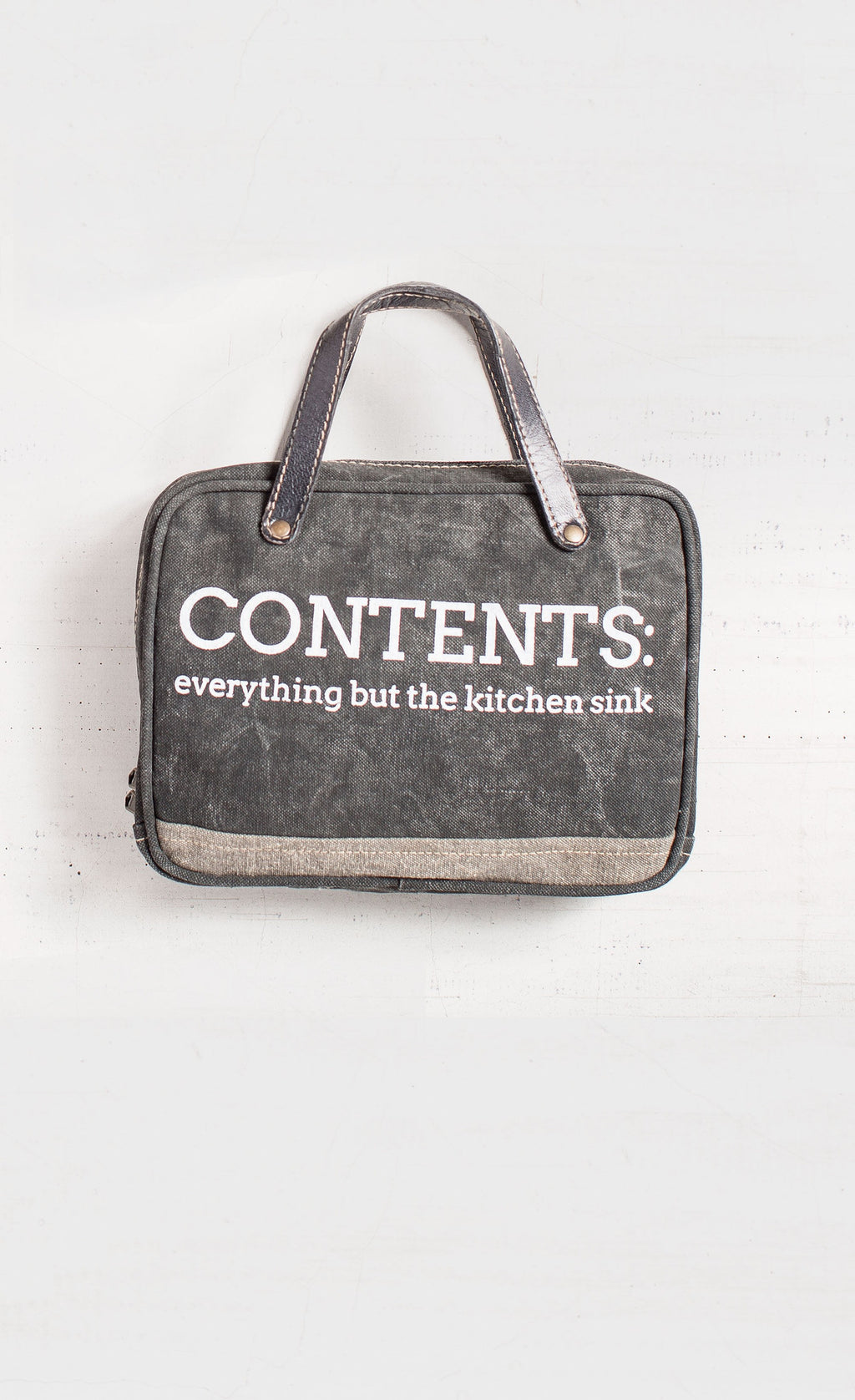 Contents - Everything But The Kitchen Sink - Reclaimed Cosmetic Bag