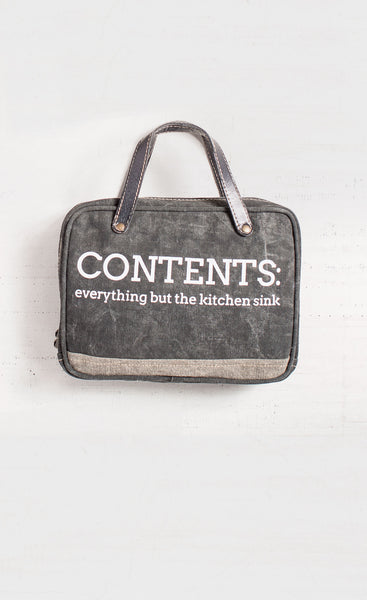 34e1581eaf Contents - Everything But The Kitchen Sink - Reclaimed Cosmetic Bag