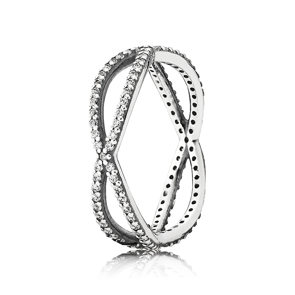 Crossing Paths Stackable Ring Sterling Silver With Clear