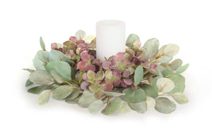 "Hydrangea-Eucalyptus Candle Ring-13.75""D"