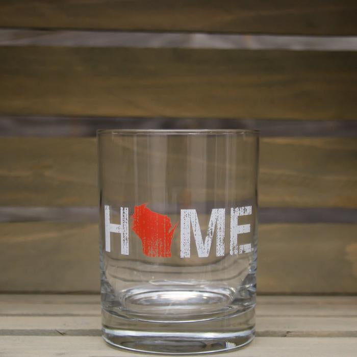 WI Wisconsin Home Rocks Glass