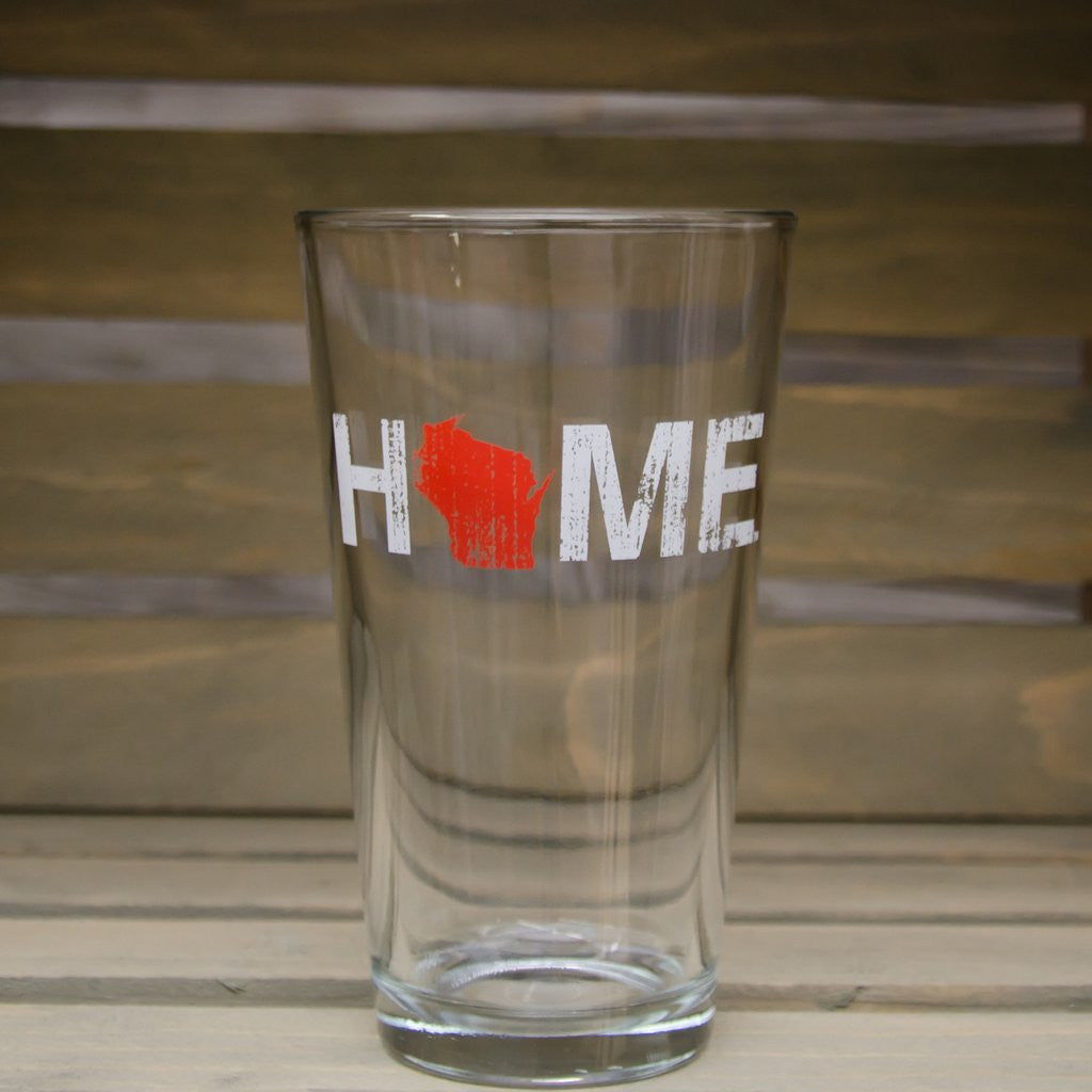 WI Wisconsin Home Pint Glass - My State Threads