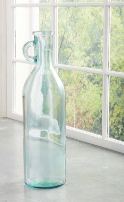 Tall Glass Vase with Handle