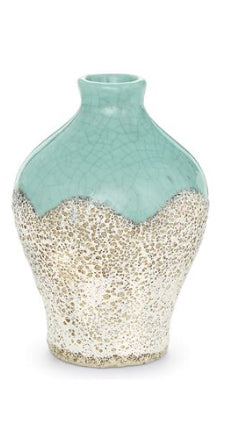 Hearty Vintage Bohemian Vase Clear Cased Mottled Green Crystal With Four Hooped Base Sturdy Construction Art Glass
