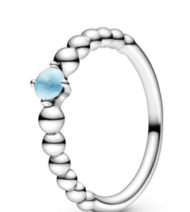 Sky Blue Beaded -December Birthstone Ring-Pandora