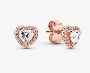 Sparkling Elevated Heart Stud Earrings-Pandora Rose