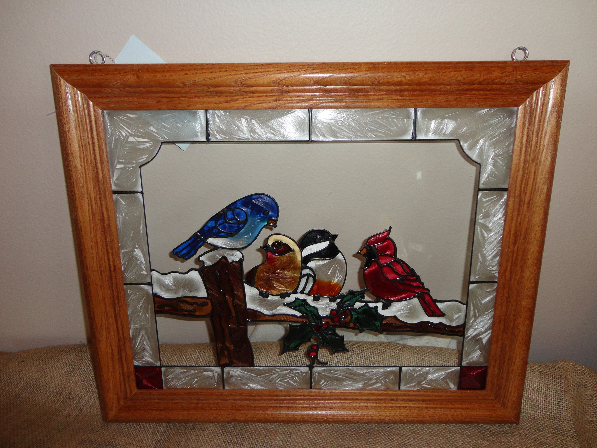Hand Painted Glass- Birds on a Snowy Fence- 4 Friends Gathering- Oak Frame