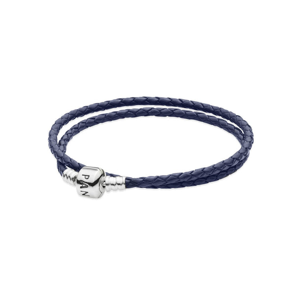 caf50c546 Dark Blue Braided Double Leather Charm Bracelet - with Sterling Silver -  PANDORA - 590705CDB-