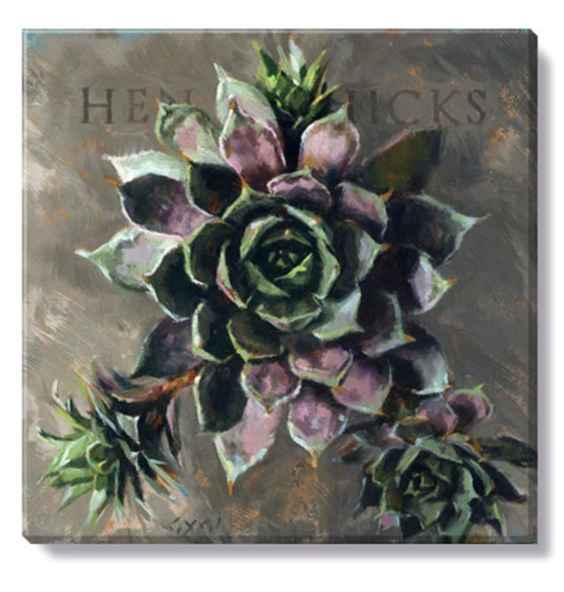 "Hen and Chicks Canvas Wall Art- 9""x9"""