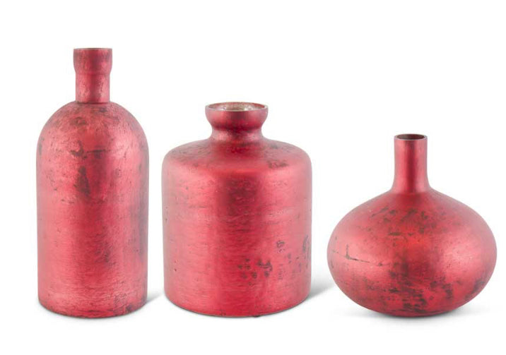 Antique Red Matte Glass Bottle Vase-3 Style Sold Separately
