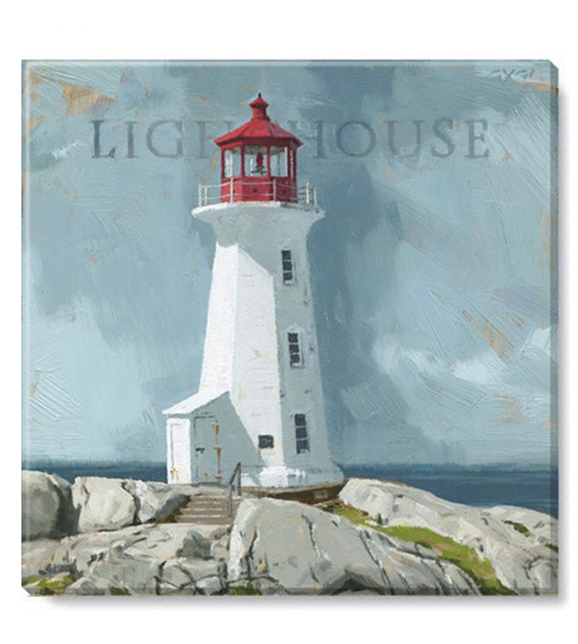 "White Lighthouse Canvas Wall Art- 5""x5"""