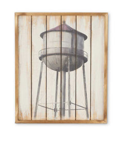 "Water Tower-24"" Slatted Wood-Whitewashed Sign"