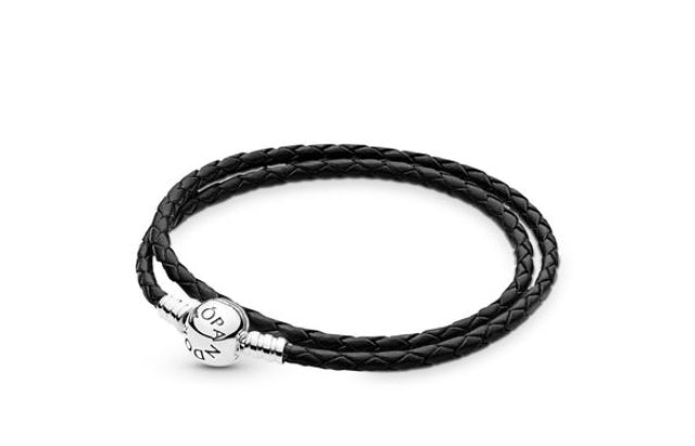 Black leather double braided bracelet- sterling Silver Round Clasp-590745CBK-D