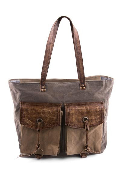 Flap and Strings - Reclaimed Canvas Shoulder Bag