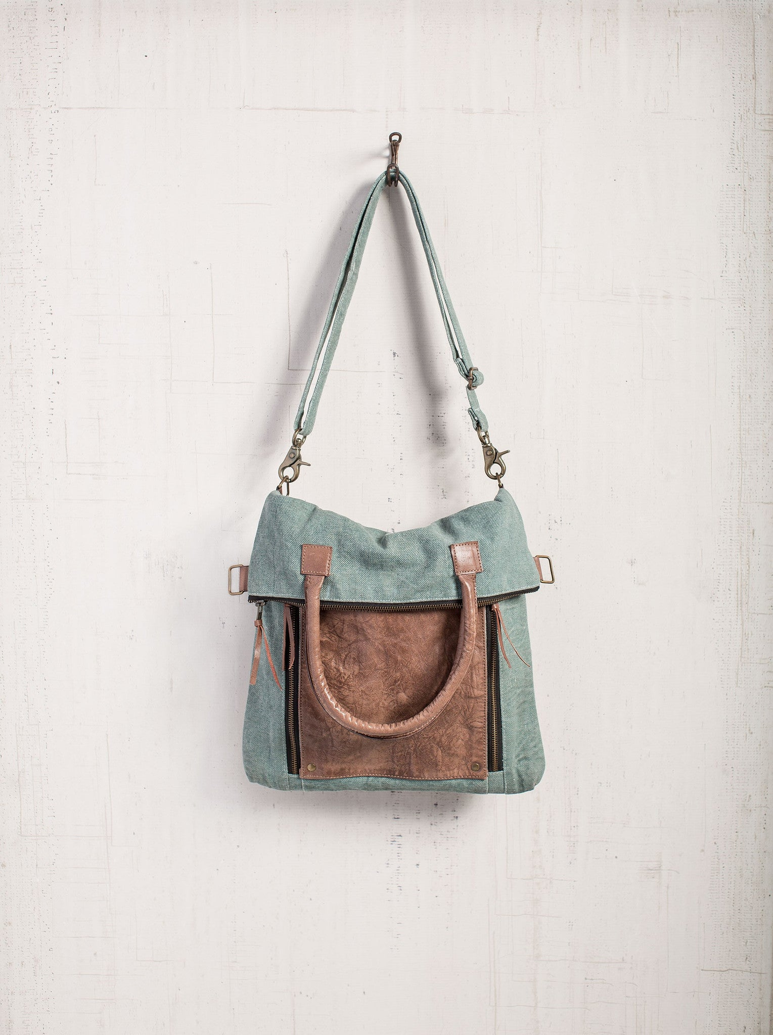 fd754a41f6 Sky Blue Fold-Over Convertible Bag - Reclaimed Canvas Tote Bag