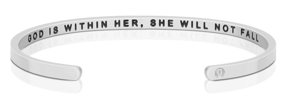 GOD IS WITHIN HER, SHE WILL NOT FALL (INSIDE) - MantraBand -SILVER