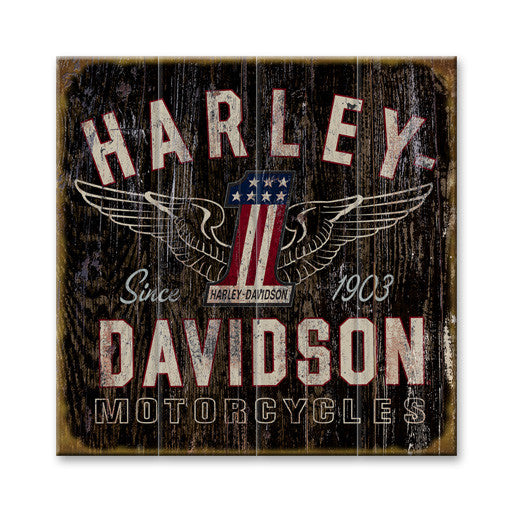 Harley Davidson Motorcycles 1 Sign Wood Sign Red