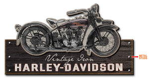Harley Davidson Vintage Iron - Wood Sign with Metal Studs